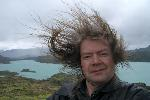 Me on a windy day at Torres del Paine National Park, Chile