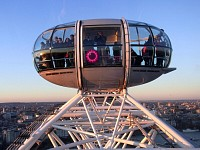 London Eye, pod at highest point during sunset